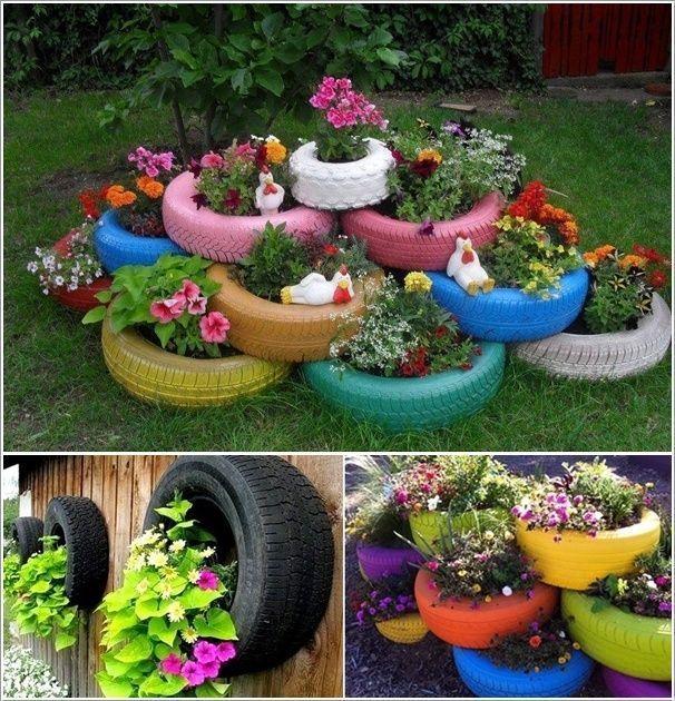 Thiết kế cảnh quan bồn hoa bằng lốp xe cũ