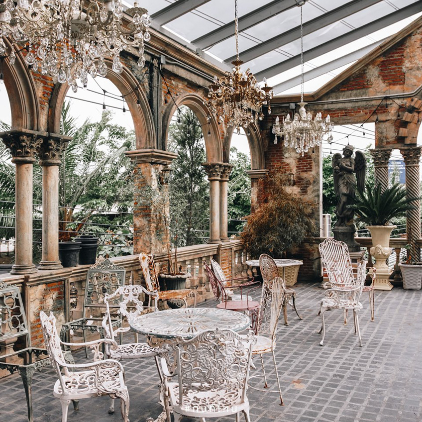 Quán cafe vườn phong cách châu âu