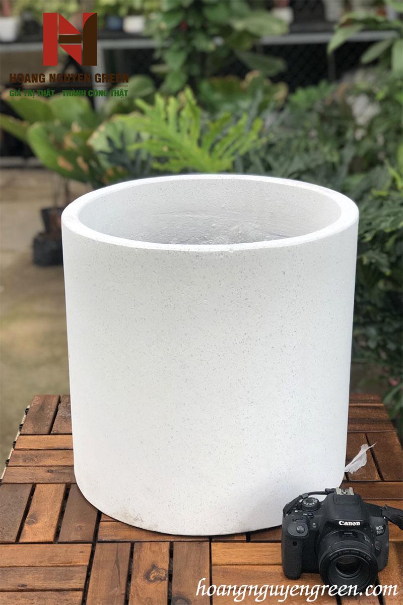 Chậu Đá Mài Tròn Trắng 40x40 cm